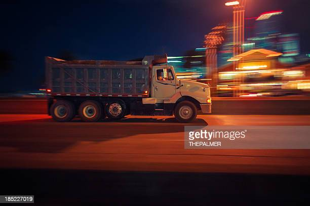 dump truck at night