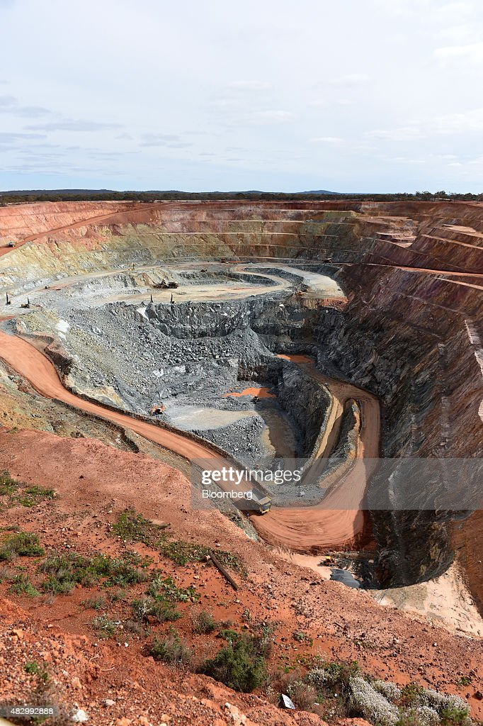 A dump truck drives along a haul road in the open pit mine at Norton Gold Fields Ltd Enterprise operations 68 kilometers northwest of Kalgoorlie...
