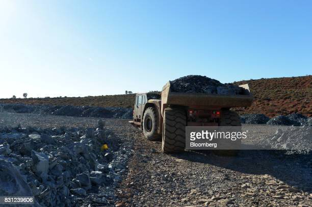 A dump truck drives towards the waste pad of the Millennium mine at the Kundana site of Northern Star Resources Ltd's Kalgoorlie Operations near...
