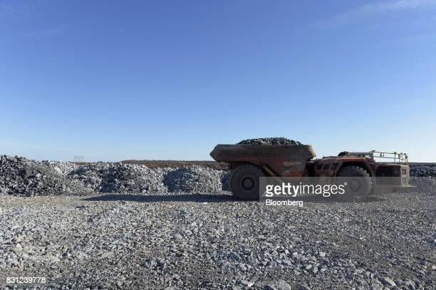 A dump truck prepares to unload ore onto the waste pad at the Millennium project at the Kundana site of Northern Star Resources Ltd's Kalgoorlie...