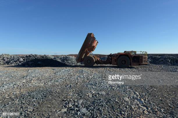 A dump truck unloads ore onto the waste pad at the Millennium project at the Kundana site of Northern Star Resources Ltd's Kalgoorlie Operations near...