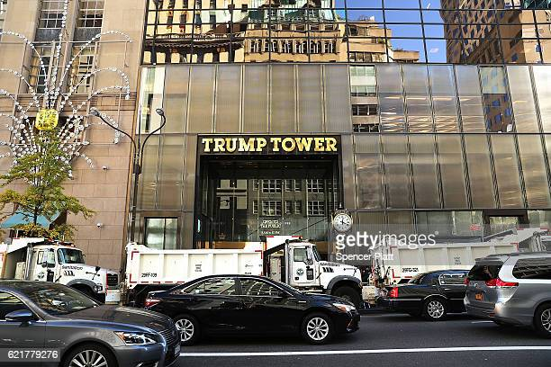 Dump trucks sit outside of Trump Tower as security is increased in the area on Election Day on November 8 2016 in New York City Throughout the...