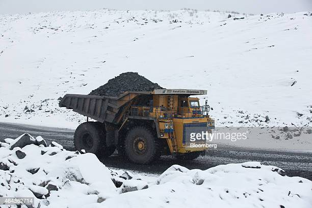 A dumper truck transports waste material from coal excavations at the Krasnogorsky open pit coal mine operated by OAO Mechel Mining a unit of OAO...