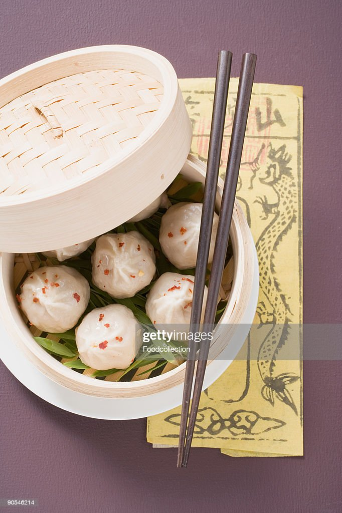 Dumpling in bamboo steamer, overhead  view : Stock Photo