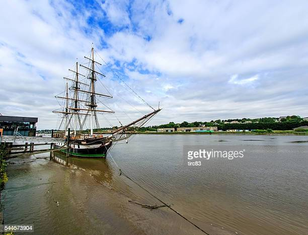 Dunbrody replica famine ship moored Quayside n New Ross Ireland