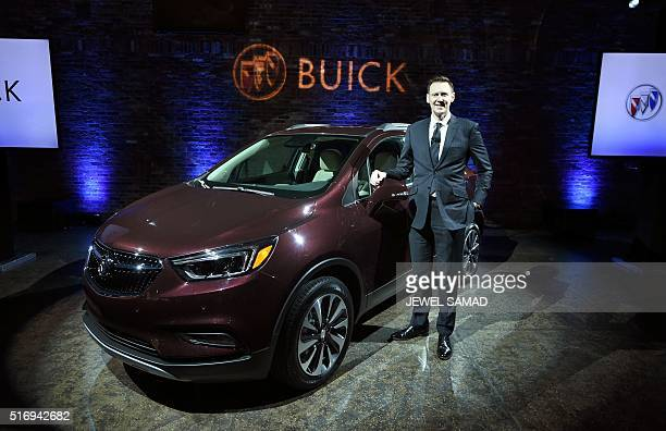 Duncan Aldred Global vice president of Buick sales service and marketing poses after unveiling the 2017 Buick Encore in New York on March 22 ahead of...