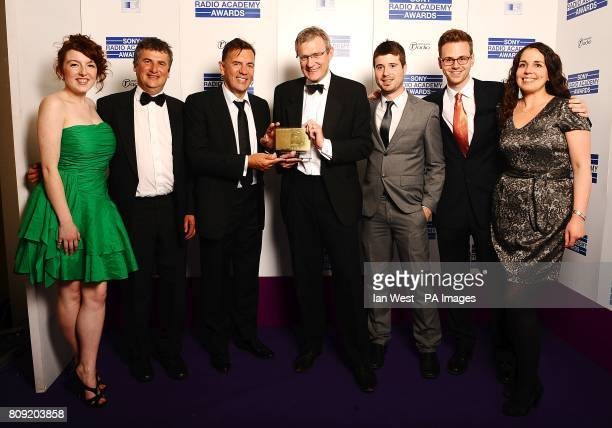 Duncan Bannatyne and Jeremy Vine with the award for Speech Broadcaster of Year at the Sony Radio Academy Awards 2011 at the Grosvenor House Hotel...