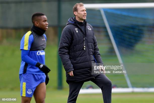 Duncan Ferguson and Ademola Lookman during the Everton FC training session at USM Finch Farm on March 16 2017 in Halewood England