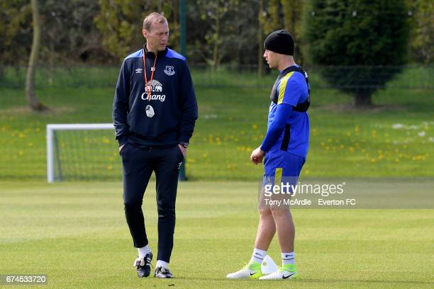 Duncan Ferguson and Ross Barkley during the Everton FC training session at USM Finch Farm on April 28 2017 in Halewood England