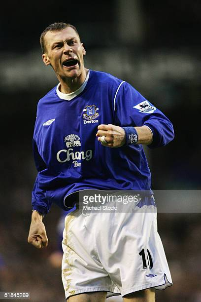Duncan Ferguson of Everton celebrates during the Barclays Premiership match between Everton and Bolton Wanderers at Goodison Park on December 4 2004...