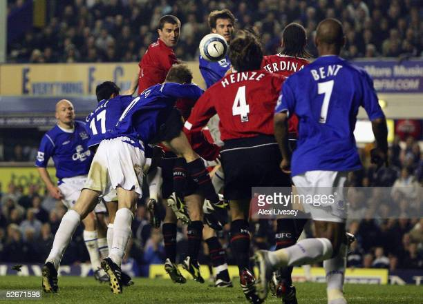 Duncan Ferguson of Everton dives in to score the winning goal with his head during the Barclays Premiership match between Everton and Manchester...