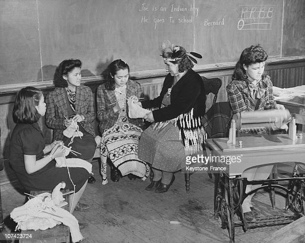 Duncan Indian School Indian Girls Knitting Sweaters At British Columbia In Canada