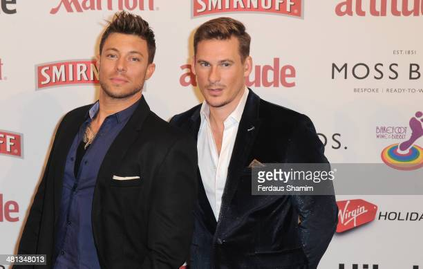 Duncan James and Lee Ryan attend the 20th birthday party of Attitude Magazine at The Grosvenor House Hotel on March 29 2014 in London England