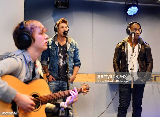 Duncan James and Simon Webb of Blue record songs from their new Album Roulette after being interviewed by Jamie Theakston and Emma Bunton in the...