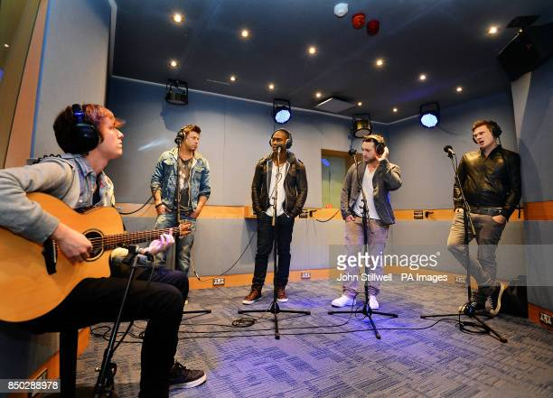 Duncan James Simon Webb Anthony Costa and Lee Ryan of Blue record songs from their new Album Roulette after being interviewed by Jamie Theakston and...