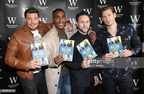 Duncan James Simon Webbe Anthony Costa and Lee Ryan from boy band Blue signing copies of the bands new book 'Blue All Rise Our Story' at Waterstones...