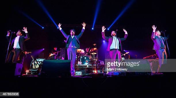 Duncan James Simon Webbe Anthony Costa and Lee Ryan of Blue performs on stage at BIC on March 27 2015 in Bournemouth United Kingdom