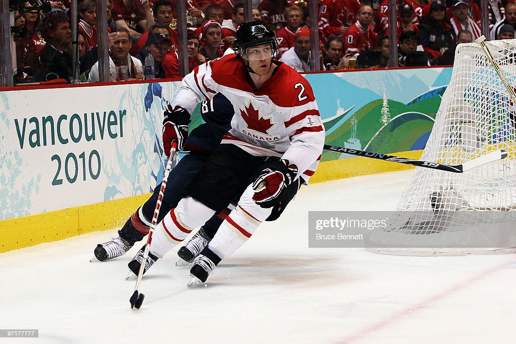 <a gi-track='captionPersonalityLinkClicked' href=/galleries/search?phrase=Duncan+Keith&family=editorial&specificpeople=4194433 ng-click='$event.stopPropagation()'>Duncan Keith</a> #2 of Canada skates with the puck during the ice hockey men's gold medal game between USA and Canada on day 17 of the Vancouver 2010 Winter Olympics at Canada Hockey Place on February 28, 2010 in Vancouver, Canada.