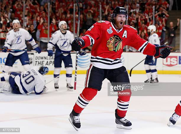 Duncan Keith of the Chicago Blackhawks celebrates after beating goaltender Ben Bishop of the Tampa Bay Lightning to score in the second period of...