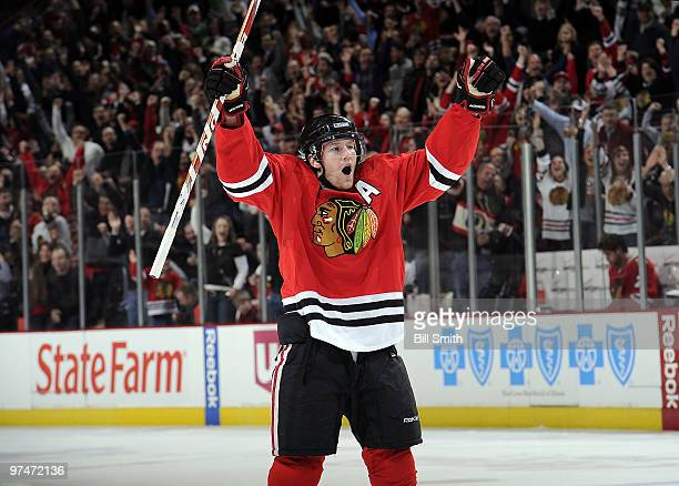 Duncan Keith of the Chicago Blackhawks celebrates after scoring in the 1st against the Vancouver Canucks on March 05 2010 at the United Center in...