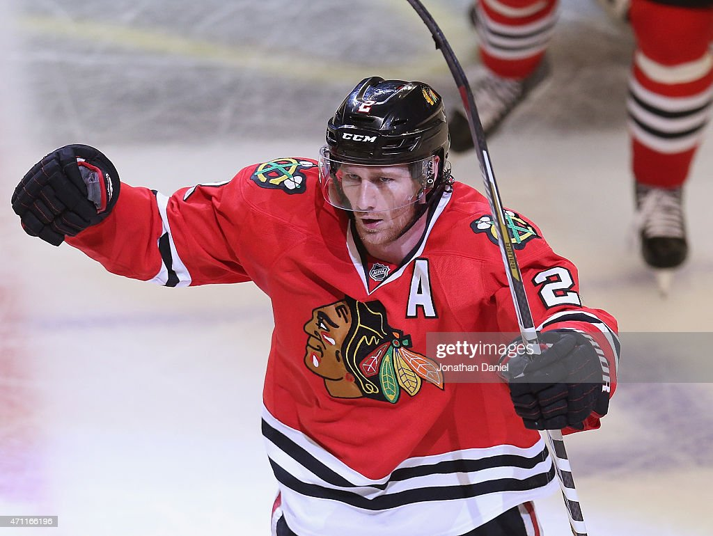 Duncan Keith #2 of the Chicago Blackhawks celebrates scoring the game-winning goal in the third period against the Nashville Predators in Game Six of the Western Conference Quarterfinals during the 2015 NHL Stanley Cup Playoffs at the United Center on April 25, 2015 in Chicago, Illinois. The Blackhawks defeated the Predators 4-3 to win the series.