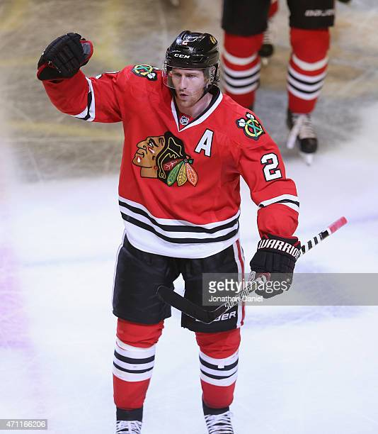 Duncan Keith of the Chicago Blackhawks celebrates scoring the gamewinning goal in the third period against the Nashville Predators in Game Six of the...