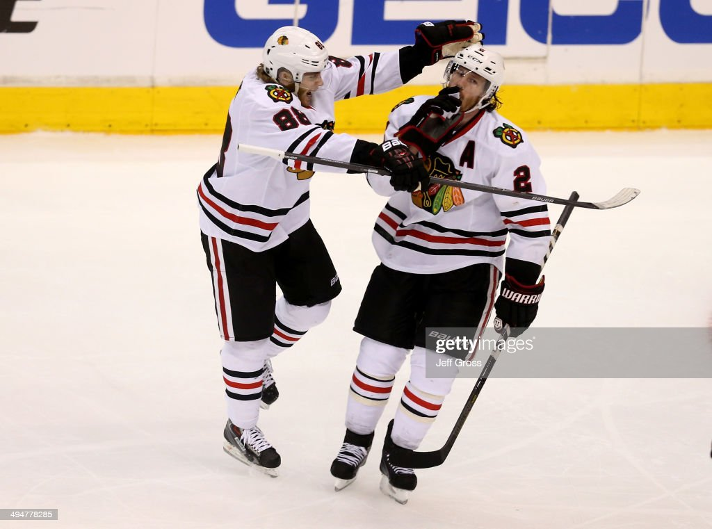 Duncan Keith #2 of the Chicago Blackhawks celebrates with Patrick Kane #88 after Keith scores a third period goal against the Los Angeles Kings in Game Six of the Western Conference Final during the 2014 Stanley Cup Playoffs at Staples Center on May 30, 2014 in Los Angeles, California.