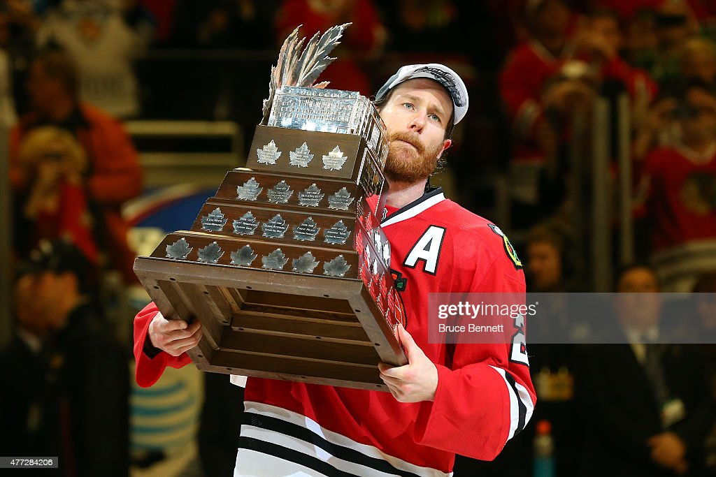 <a gi-track='captionPersonalityLinkClicked' href=/galleries/search?phrase=Duncan+Keith&family=editorial&specificpeople=4194433 ng-click='$event.stopPropagation()'>Duncan Keith</a> #2 of the Chicago Blackhawks celebrates with the Conn Smythe trophy after defeating the Tampa Bay Lightning by a score of 2-0 in Game Six to win the 2015 NHL Stanley Cup Final at the United Center on June 15, 2015 in Chicago, Illinois.