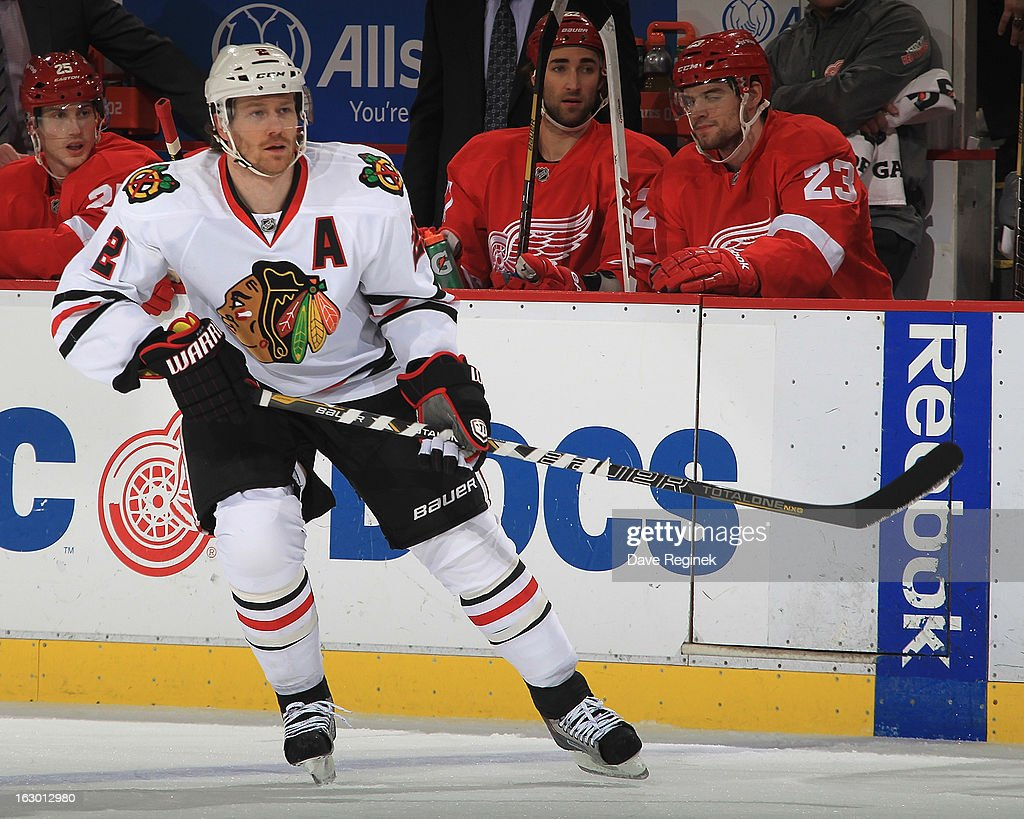 <a gi-track='captionPersonalityLinkClicked' href=/galleries/search?phrase=Duncan+Keith&family=editorial&specificpeople=4194433 ng-click='$event.stopPropagation()'>Duncan Keith</a> #2 of the Chicago Blackhawks defends the blue line during an NHL game against the Detroit Red Wings at Joe Louis Arena on March 3, 2013 in Detroit, Michigan.