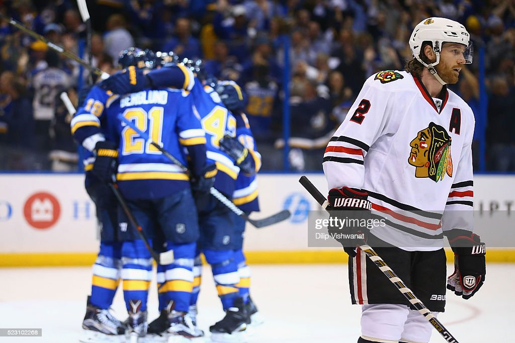 <a gi-track='captionPersonalityLinkClicked' href=/galleries/search?phrase=Duncan+Keith&family=editorial&specificpeople=4194433 ng-click='$event.stopPropagation()'>Duncan Keith</a> #2 of the Chicago Blackhawks reacts after the St. Louis Blues scored the game-tying goal in Game Five of the Western Conference First Round during the 2016 NHL Stanley Cup Playoffs at the Scottrade Center on April 21, 2016 in St. Louis, Missouri.