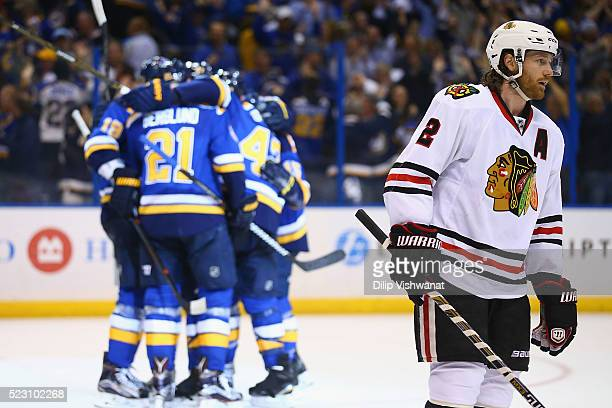 Duncan Keith of the Chicago Blackhawks reacts after the St Louis Blues scored the gametying goal in Game Five of the Western Conference First Round...