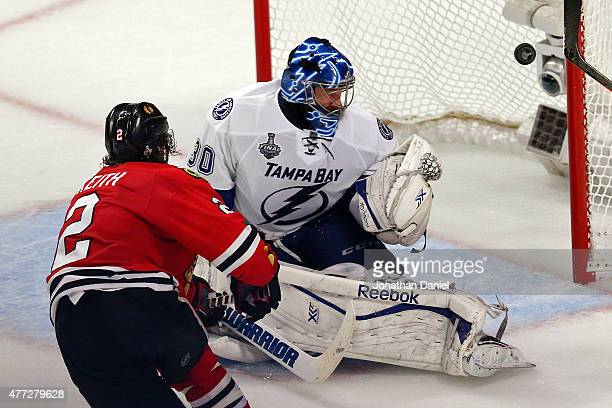Duncan Keith of the Chicago Blackhawks scores a goal in the second period against Ben Bishop of the Tampa Bay Lightning during Game Six of the 2015...