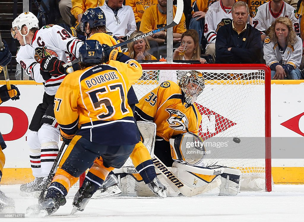 Duncan Keith #2 of the Chicago Blackhawks (not pictured) scores the game winner against Pekka Rinne #35 of the Nashville Predators in the second overtime of Game One of the Western Conference Quarterfinals during the 2015 NHL Stanley Cup Playoffs at Bridgestone Arena on April 15, 2015 in Nashville, Tennessee.