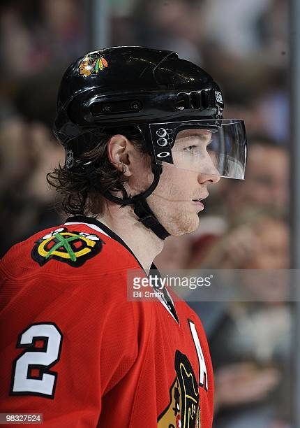 Duncan Keith of the Chicago Blackhawks watches the action down the ice during a game against the Calgary Flames on April 04 2010 at the United Center...