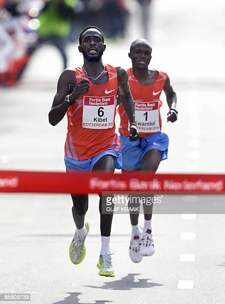 Duncan Kibet of Kenya crosses the finish line to win with James Kwambai of Kenya behind him at the Rotterdam marathon on April 5 2009 ANP OLAF KRAAK...