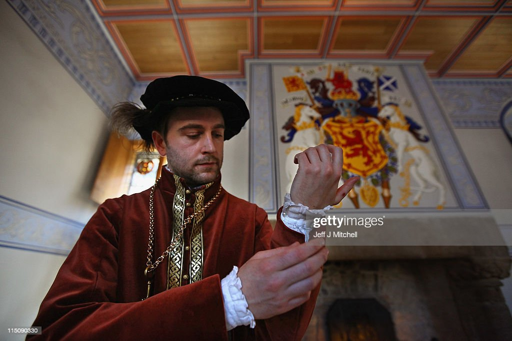 Duncan Maclachlan dressed as Alexander of Stewart rehearses for Stirling Castle's grand renaissance palace opening on June 3 2011 in Stirling...