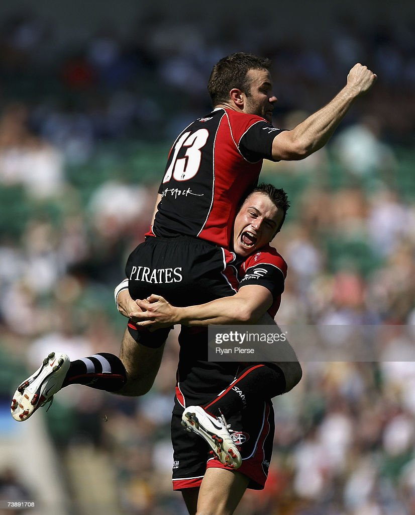 Duncan Roke and Lewis Vinnicombe of Cornish Pirates celebrate after winning the EDF Energy National Trophy match between Cornish Pirates and Exeter...