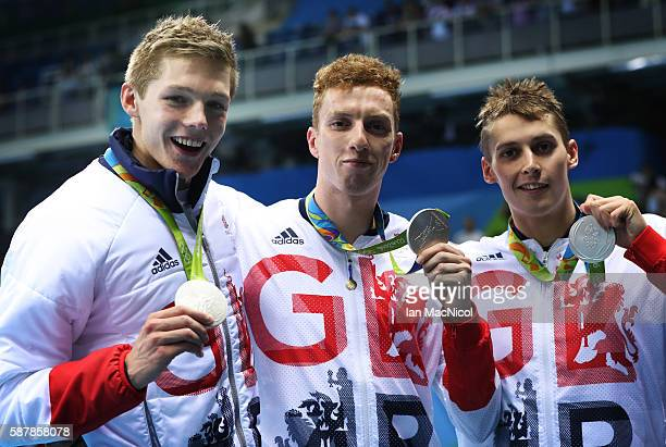 Duncan Scott Dan Wallace and Stephen Milne of Great Britain pose with their silver medals from the Men's 4 x 200m Freestyle Relay on Day 4 of the Rio...