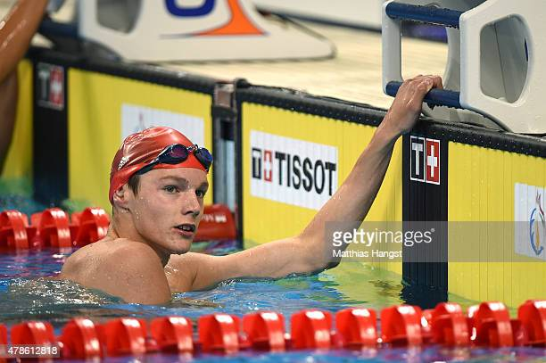 Duncan Scott of Great Britain competes in the Men's 200m Freestyle semi finals during day fourteen of the Baku 2015 European Games at Baku Aquatics...