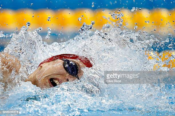 Duncan Scott of Great Britain competes in the Men's 4 x 100m Medley Relay heat on Day 7 of the Rio 2016 Olympic Games at the Olympic Aquatics Stadium...