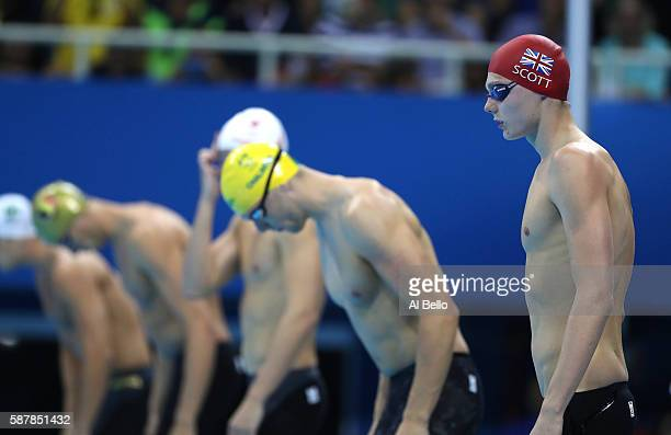 Duncan Scott of Great Britain looks on in the second Semifinal of the Men's 100m Freestyle on Day 4 of the Rio 2016 Olympic Games at the Olympic...