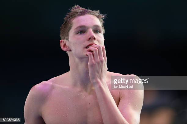 Duncan Scott of Great Britain reacts after he comes fourth in the Men's 200m Freestyle during day twelve of the FINA World Championships at the Duna...