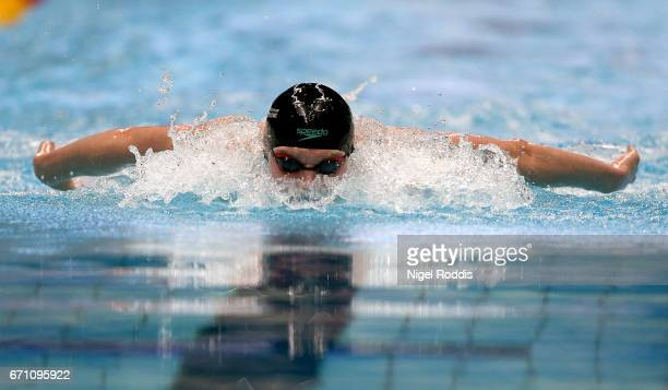 Duncan Scott of Stirling University competes in the Mens Open 100m Butterfly Heats on day four of the 2017 British Swimming Championships at Ponds...
