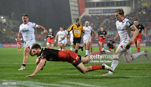 Duncan Taylor of Saracens goes over for a try during the European Champions Cup Pool 1 rugby game at Kingspan Stadium between Ulster and Saracens on...