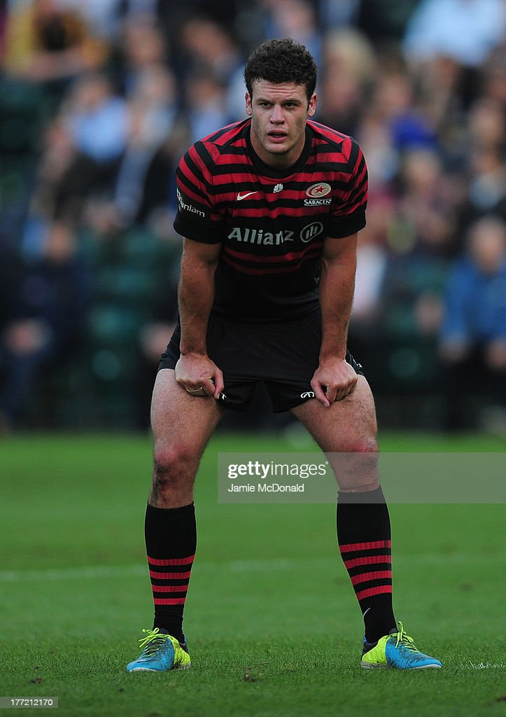 Duncan Taylor of Saracens in action during the pre season friendly match between Saracens and Cornish Pirates at Honourable Artillery Company on August 22, 2013 in London, England.