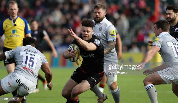 Duncan Taylor of Saracens runs with the ball during the Aviva Premiership match between Saracens and Bath at Allianz Park on March 26 2017 in Barnet...