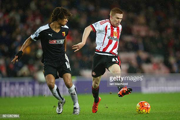 Duncan Watmore of Sunderland and Nathan Ake of Watford compete for the ball during the Barclays Premier League match between Sunderland and Watford...