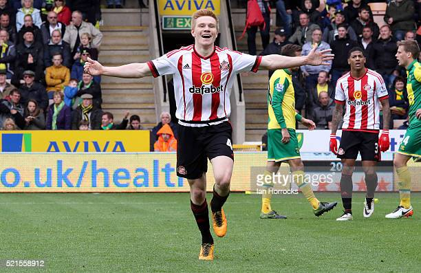 Duncan Watmore of Sunderland celebrates scoring the third goal during the Barclays Premier League match between Norwich City and Sunderland at Carrow...