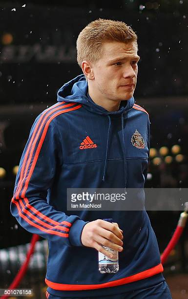 Duncan Watmore of Sunderland is seen on arrival at the stadium prior to the Barclays Premier League match between Sunderland and Watford at the...