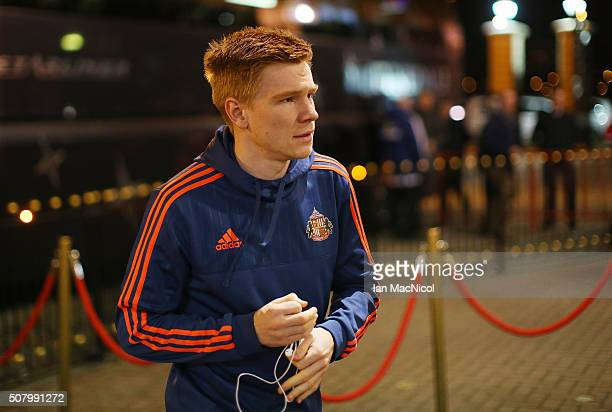 Duncan Watmore of Sunderland is seen on arrival at the stadium prior to the Barclays Premier League match between Sunderland and Manchester City at...